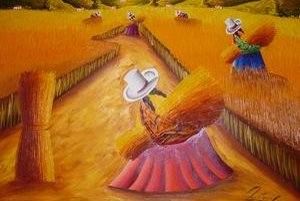 Maľba z Peru. Zachytáva každodennú prácu domorodcov.