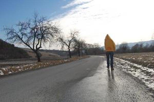 Medzi Ľutinou a Pečovskou Novou Vsou. Na ceste chýbajú smerové stĺpiky aj vodorovné značenie.