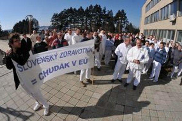 Protest v prešovskej nemocnici.