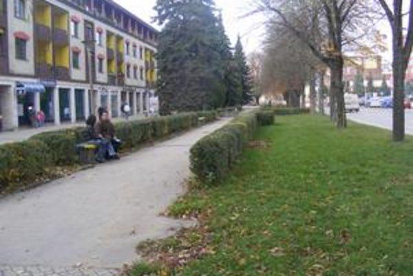 Park vo Vranove. V centre mesta je park, kde si môžu ľudia oddýchnuť.