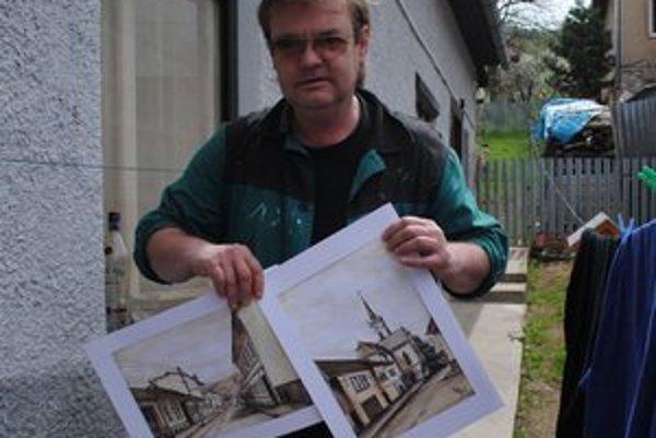 Marek Opremčák maľuje hlavne svoje rodné mesto Dobšiná.
