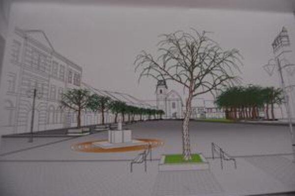 Pohľad z južnej strany. Nová zeleň, lavičky i fontána z pieskovca.