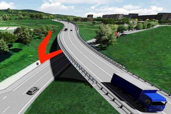 Nový chodník kcintorínu. Pôjde popod most okolo násypu mostného kužeľa.