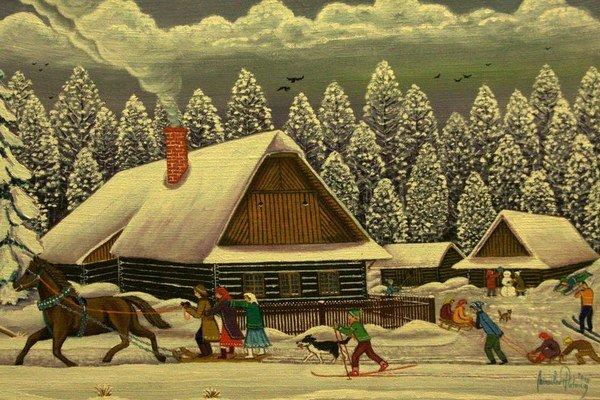 Slovenská dedina v maľbe M. Potomu. Oživuje v nej čaro ľudových zvykov, tradícií a sviatkov.