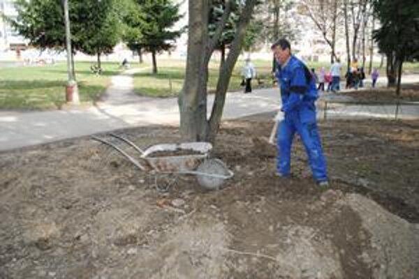 Ťažko prístupné. Miesta pre ZŠ Dargovských hrdinov, kde Energobyt vymenil potrubie, sú pre mechanizmy kvôli stromom ťažko prístupné. Všetko musia teda robiť ručne.