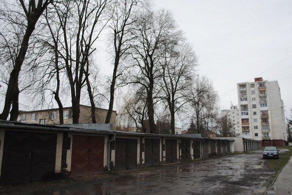 Garáže na Tyršovej ulici. Múry a strechy nehnuteľností poškodzujú padajúce konáre. Vlastníci garáží žiadajú mesto, aby zabezpečilo výrub stromov.