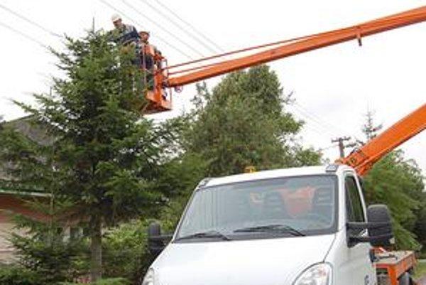 Prišli hneď. Elektrikári s plošinou prišli hneď, ako sme sa o problém začali zaujímať. Stromy, ktoré zasahovali do vedenia, orezali všetky.