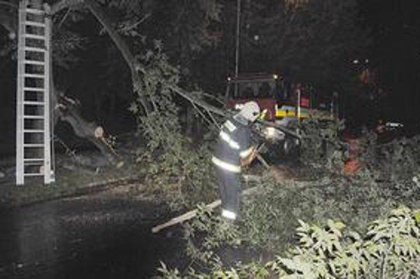 Spadnutý strom zablokoval cestu na Okružnej ulici v Michalovciach.