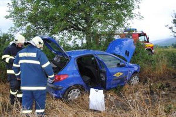 Peugeot skončil v poli a otočilo ho proti smeru jazdy.