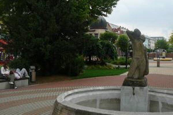 Fontána. Plastika Muž zo Zemplína stojí v centre mesta už viac ako 47 rokov. Fontána je poškodená.