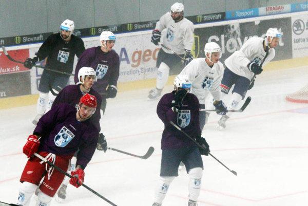 S tímom sa zatiaľ pripravuje Marek Tvrdoň (na snímke vľavo v červených nohaviciach), ktorý naposledy hral za Slovan.