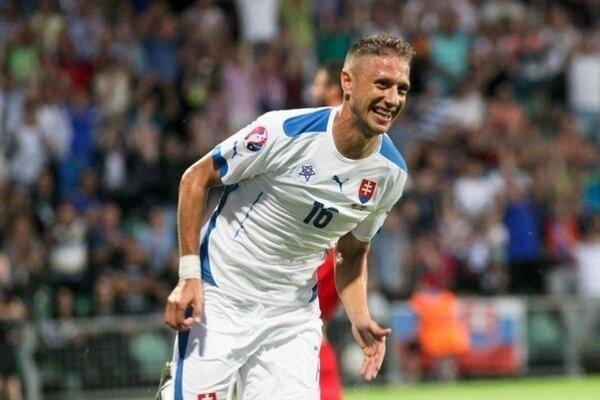 Gólová radosť Kornela Salátu. Skóroval v kvalifikačnom zápase proti Macedónsku.