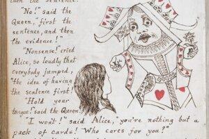 Ukážka z bibliofílie Alice v krajine zázrakov, ktorú pre Alice Liddellovú ručne napísal a sám aj ilustroval Lewis Carroll.