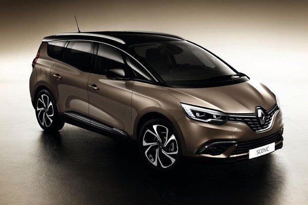Kompaktný van Renault Grand Scénic. Nový model je predĺženou verziou základného typu Scénic a dodáva sa aj s tromi radmi sedadiel pre celkovo sedem cestujúcich.