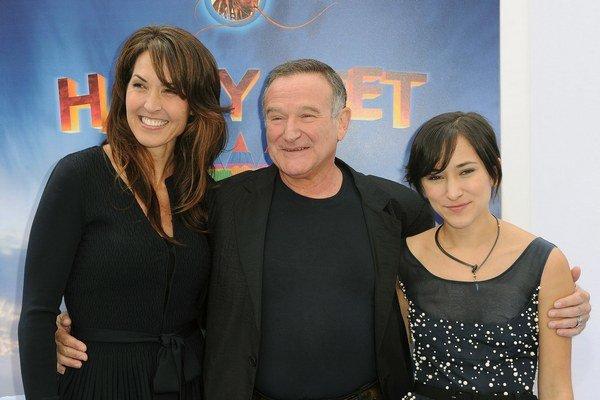 Robin Williams spáchal samovraždu obesením. Manželka (vľavo) sa teraz sporí s deťmi - dcéra Zelda vpravo.
