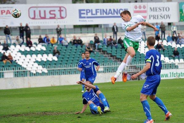 Hlavička. Tretí gól 1. FC Tatran Prešov dal hlavou Lukáš Makara.