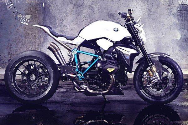 """Koncepčný motocykel BMW Concept Roadster. Štúdia predstavuje """"holý"""" motocykel, ktorý nemá žiadnu kapotáž ani predný ochranný štítok."""