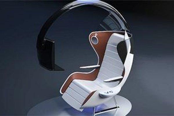 Koncepčné letecké kreslo. Kreslo je určené cestujúcim, ktorí sú vášnivými hráčmi počítačových hier.