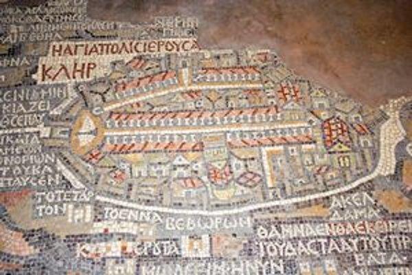 Madabská mapa. Najstaršie zachované kartografické znázornenie Svätej zeme a Jeruzalema zo 6. stor. na kamennej mozaike v chráme sv. Juraja v Madabe.