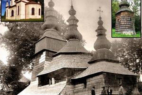 Šarišský Štiavnik. 1. nový neobarokový chrám,  2. zvonica vyskladaná z veže - v pozadí chrám v r. 1905 (foto K. Divald).