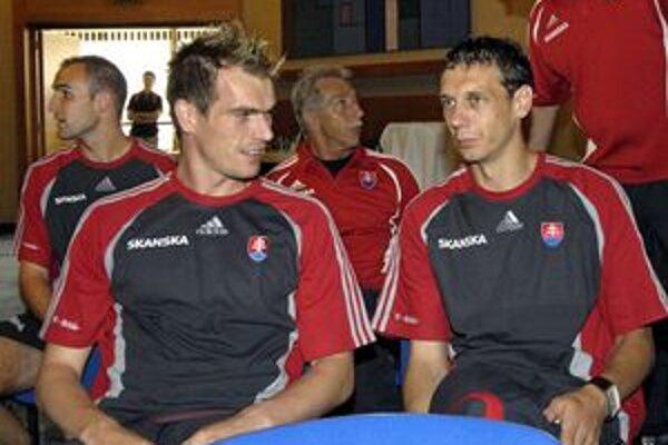 Peter Šinglár (vľavo) v čase, keď figuroval v kádri slovenskej reprezentácie.