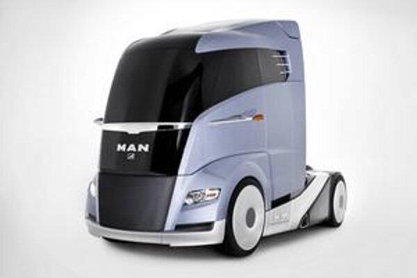 Štúdia MAN Concept S. Štúdia ťahača má aerodynamické tvary, ktoré umožňujú znížiť spotrebu paliva až o štvrtinu.