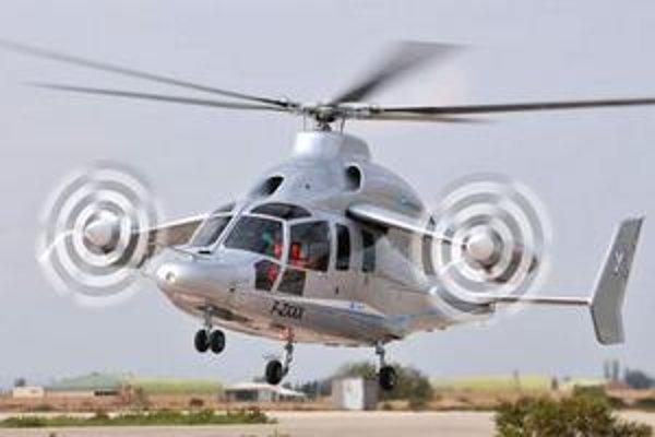 Vrtuľník Eurocopter X3. Tento vrtuľník s malými krídlami a dvomi vrtuľami sa pokúsi o prekonanie svetového rekordu.