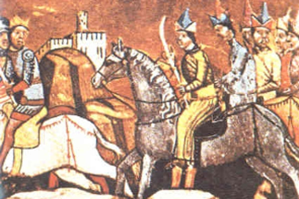 Uhorský kráľ Belo IV. Panovník je vľavo na koni po prehratej bitke pri rieke Slaná.