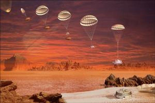 Schéma pristávania sondy Huygens.