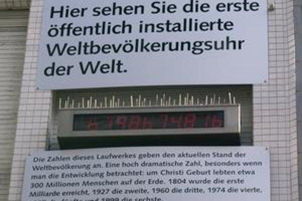 Unikátny displej vo Wuppertale. Na displeji sa priebežne zobrazuje počet obyvateľov na svete.