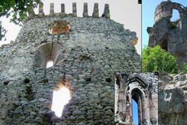 Slanec. 1.severná fasáda paláca, 2. veža, 3. detail gotického okna.