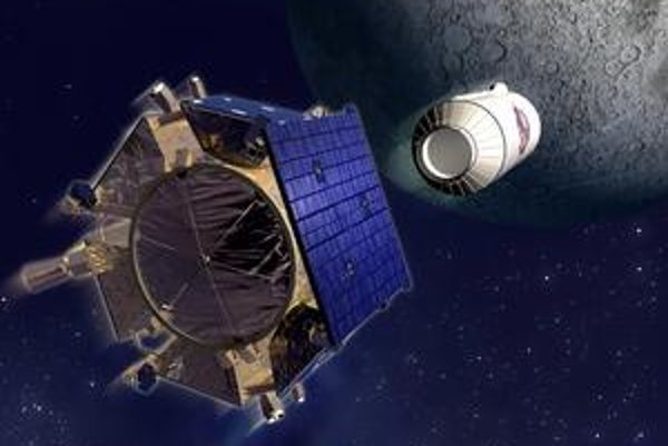 Kresba sondy LCROSS. Na mesačný povrch dopadla najprv raketa Centaur (vpravo), potom aj samotná sonda.