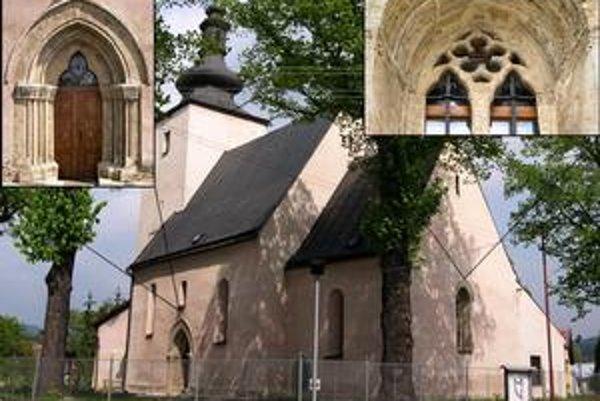 Kostol v Toporci. 1.južný portál, 2. kostol od juhovýchodu, 3. detail kružby východného okna.