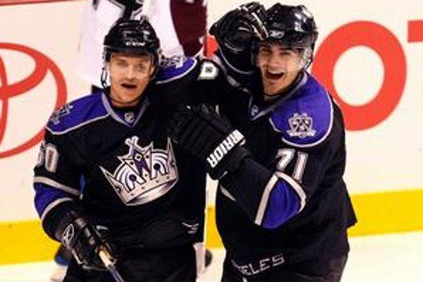 Sníva o NHL. Vladimír Dravecký (vľavo) sa chce dostať do mužstva Los Angeles Kings.