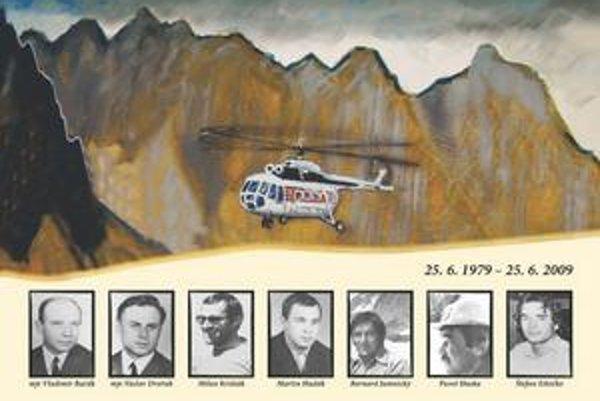 Snímky obetí havárie vrtuľníka na plagáte, ktorý pozýva 25. júna na pietnu spomienku v deň 30. výročia havárie vrtuľníka, spojenú aj s výstupom na miesto nešťastia v Mlynickej doline.