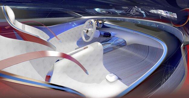Kokpit štúdie Mercedes-Maybach 6. Snímače sledujú vitálne funkcie cestujúcich a podľa ich údajov menia napríklad vnútorné osvetlenie i činnosť klimatizácie.