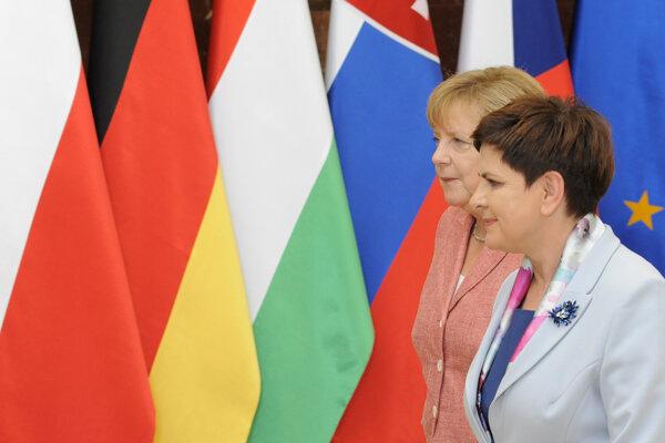 Merkelová s poľskou premiérkou Szydlovou.