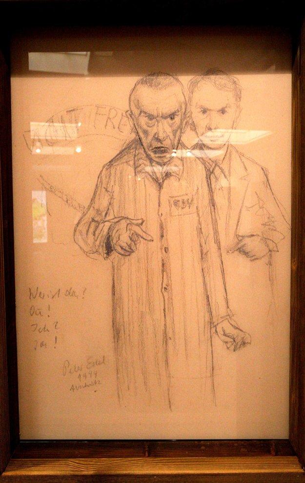 Autor jednej z kresieb zobrazil sám seba. V popredí ako väzeň, vzadu on sám v lepších časoch.