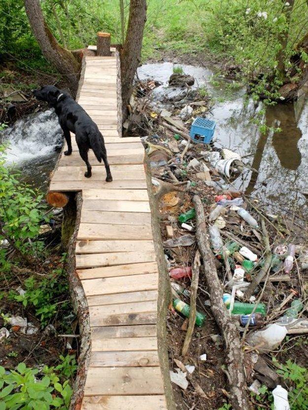 Vyhliadka na riečke Zolná. Má byť mementom a pozastavením nad tým, ako znečisťujeme naše vodné toky.