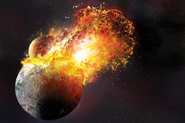 Umelecké zobrazenie zrážky protozeme s telesom Theia, po ktorej vznikol Mesiac.