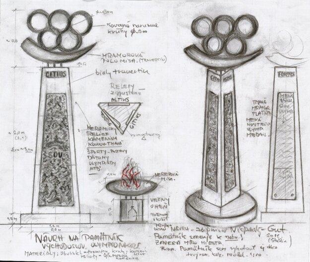 Návrh pamätníka košických olympionikov.