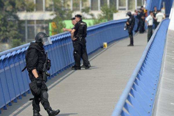 Hliadkujúci policajti počas summitu.