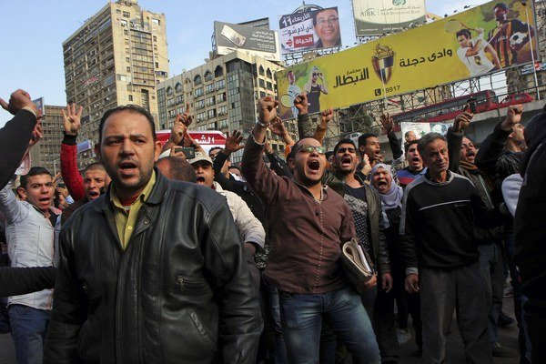 Protest v Káhire.
