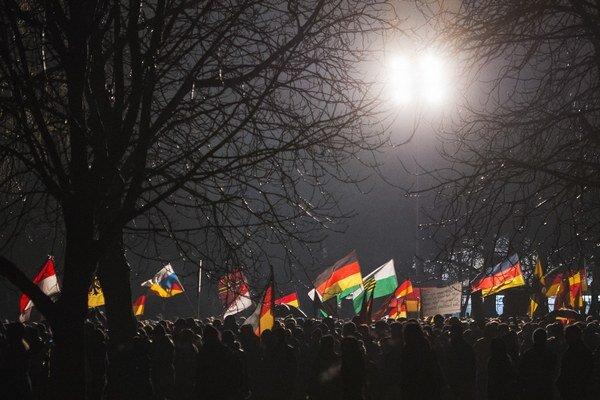 Protiislamská demonštrácia v Drážďanoch.