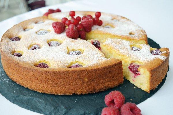 Malinový koláč.