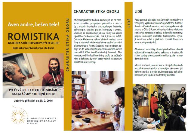 Informačný leták k študijnému odboru Romistika.