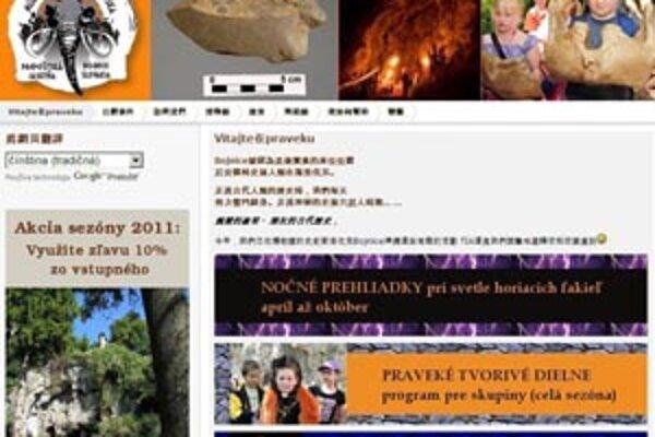 Múzeum praveku má na svojej webovej stránke aj čínštinu.