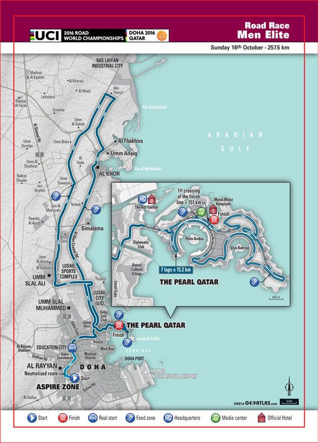 Mapa trate pretekov elite v katarskej Dohe.