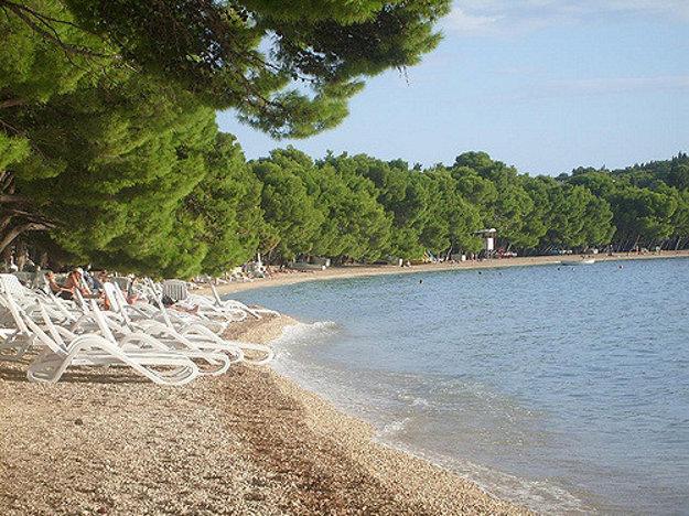 Kamienkové pláže na Makarskej riviére bývajú úzke, s tieňom borovíc.