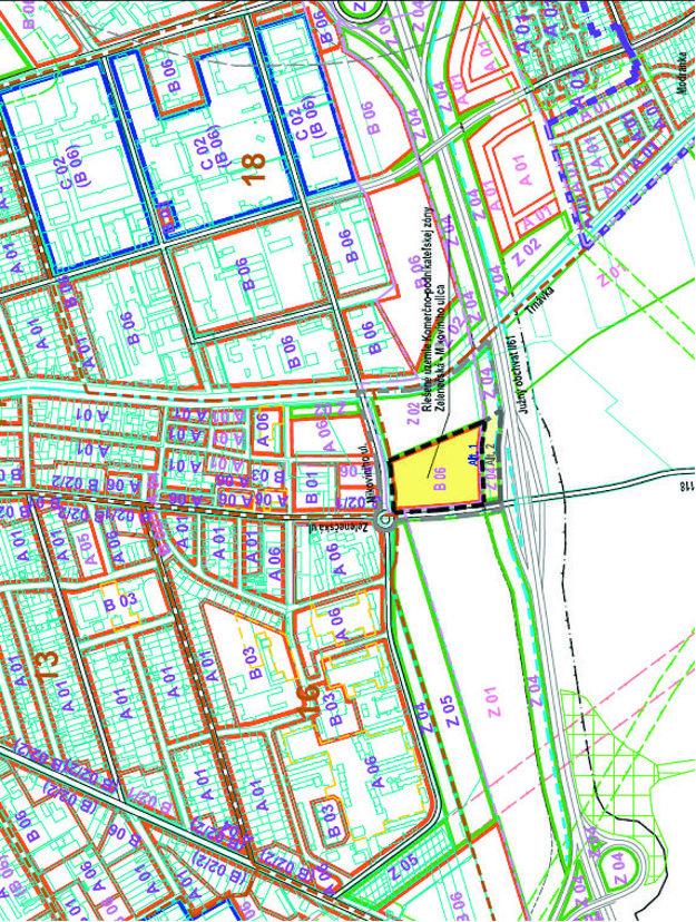 Žltou farbou je naznačené, kde chceli centrum postaviť.